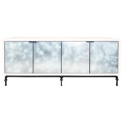 Customizable Églomisé White Silver Glass Buffet with Metal Base by Ercole Home