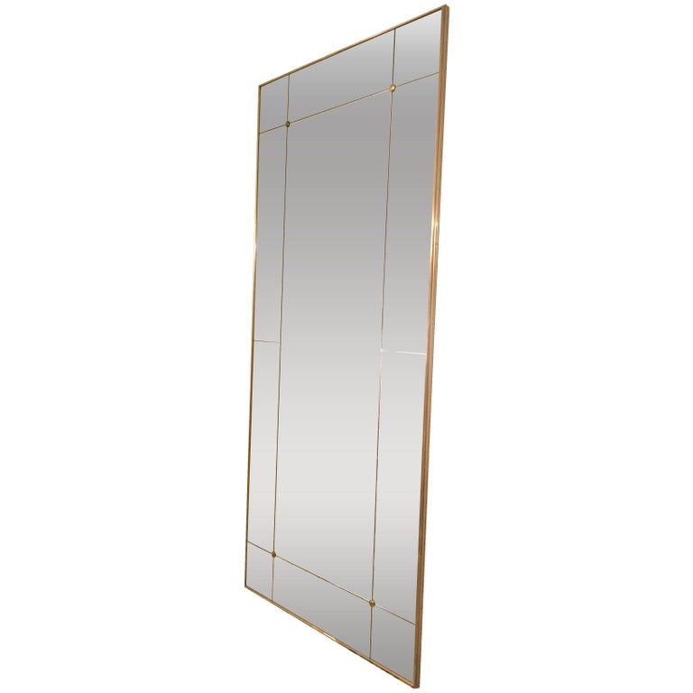 Customizable Floor Panelled Mirror Brass Frame Art Deco Style in stock
