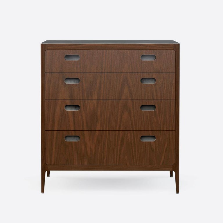 Mid-Century Modern Customizable Four-Drawer Walnut Dresser with Brass Top from Munson Furniture For Sale