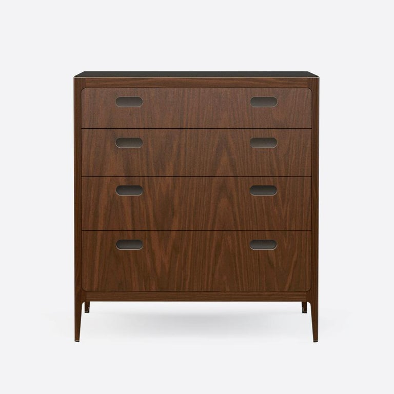 American Customizable Four-Drawer Walnut Dresser with Brass Top from Munson Furniture For Sale