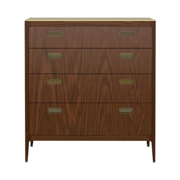 Customizable Four-Drawer Walnut Dresser with Brass Top from Munson Furniture For Sale