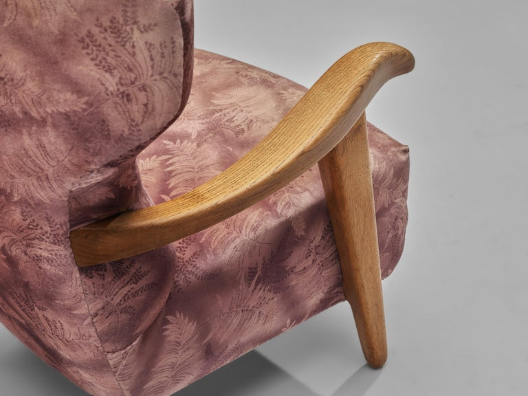 Mid-20th Century Customizable French Lounge Chairs in Oak and Fabric Upholstery For Sale