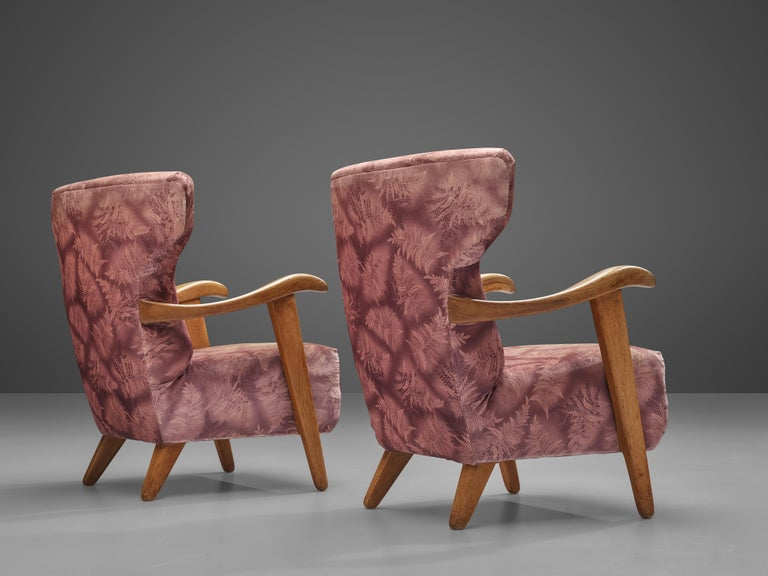 Customizable French Lounge Chairs in Oak and Fabric Upholstery For Sale 1