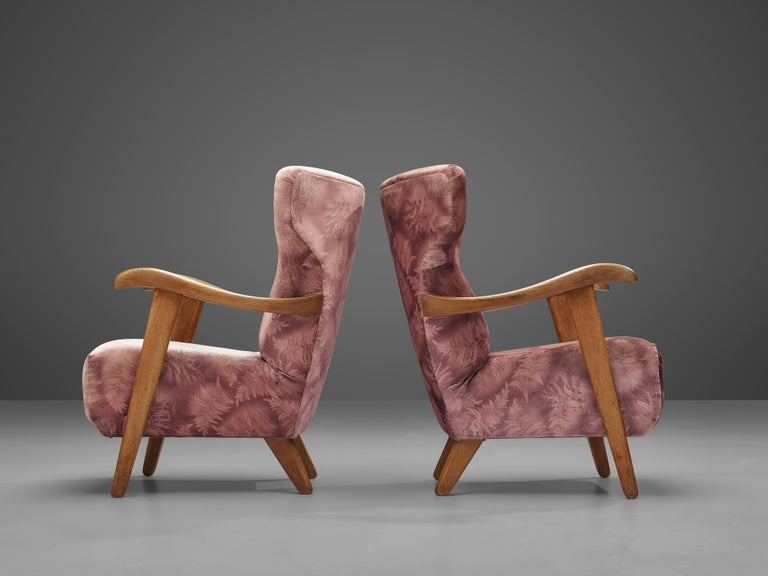 Customizable French Lounge Chairs in Oak and Fabric Upholstery For Sale 3