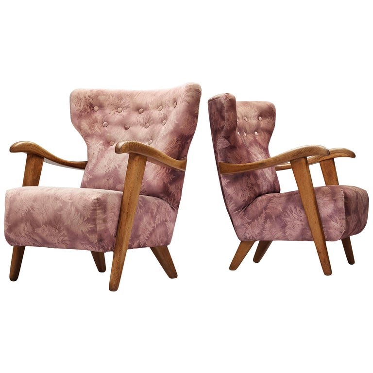 Customizable French Lounge Chairs in Oak and Fabric Upholstery For Sale