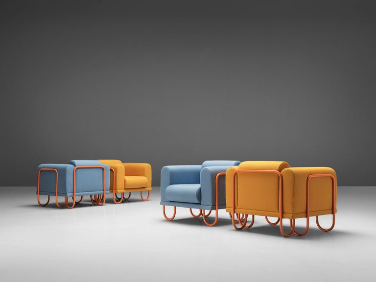 Customizable French Lounge Chairs with Tubular Frames In Good Condition For Sale In Waalwijk, NL