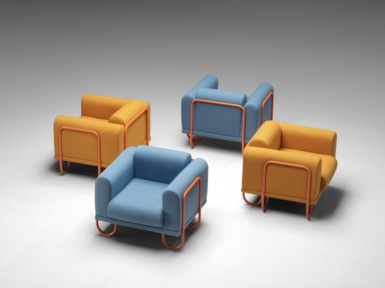 Fabric Customizable French Lounge Chairs with Tubular Frames For Sale