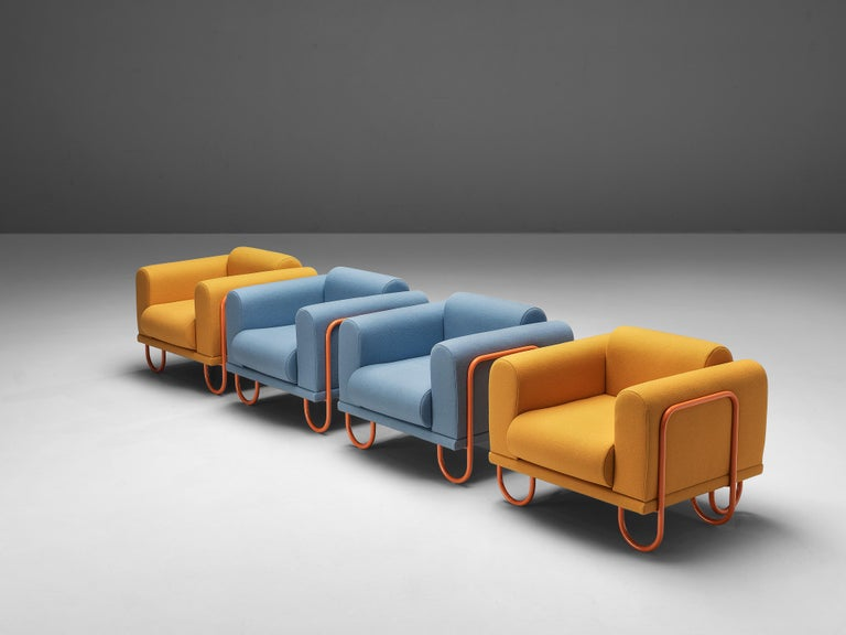 Customizable French Lounge Chairs with Tubular Frames For Sale 2