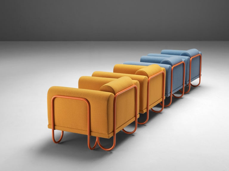 Customizable French Lounge Chairs with Tubular Frames For Sale 3