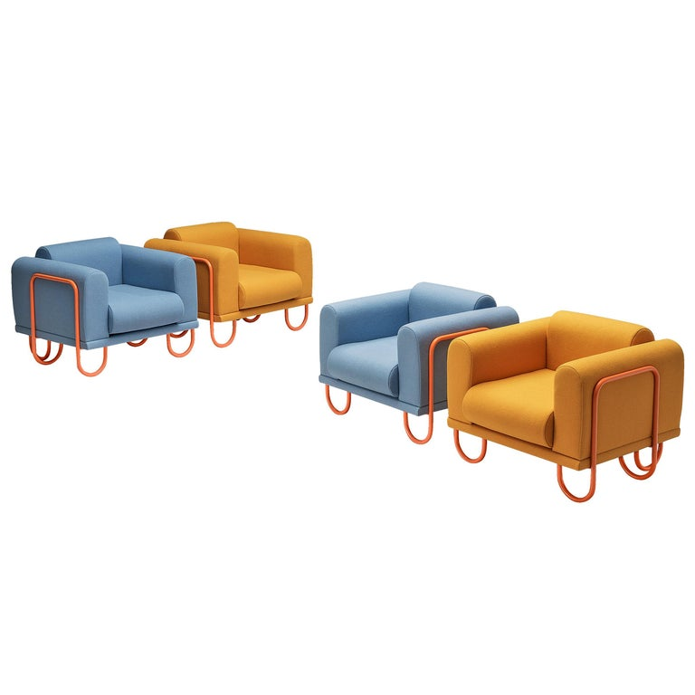 Customizable French Lounge Chairs with Tubular Frames For Sale
