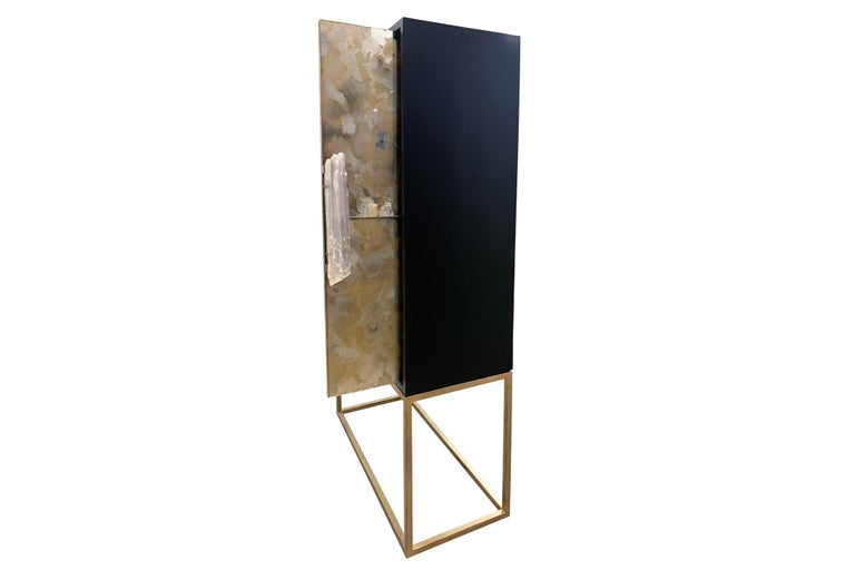 Contemporary Customizable Gold Églomisé Black and Green Bar with Selenite Handles by Ercole For Sale
