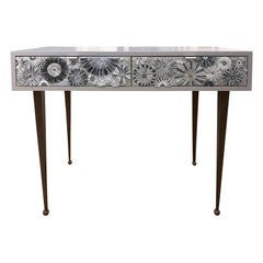 Customizable Gray Blossom Glass Mosaic Desk with Metal Base by Ercole Home