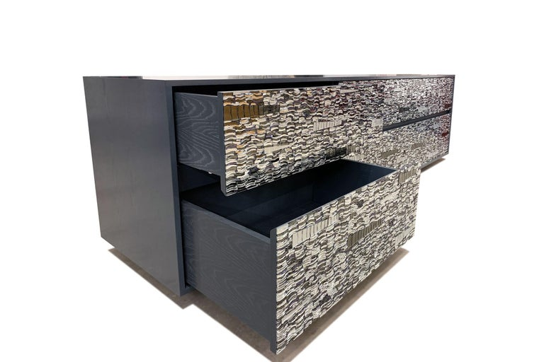 Modern Customizable Gray Lacquered Ravenna Glass Mosaic Chest of Drawer by Ercole Home For Sale