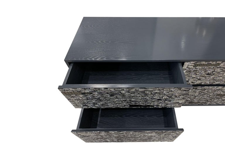 American Customizable Gray Lacquered Ravenna Glass Mosaic Chest of Drawer by Ercole Home For Sale