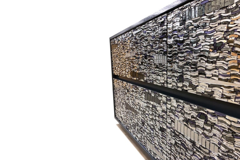Hand-Crafted Customizable Gray Lacquered Ravenna Glass Mosaic Chest of Drawer by Ercole Home For Sale