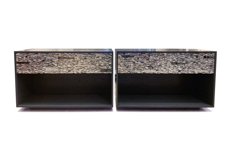 Customizable Gray Lacquered Ravenna Glass Mosaic Chest of Drawer by Ercole Home In New Condition For Sale In Brooklyn, NY