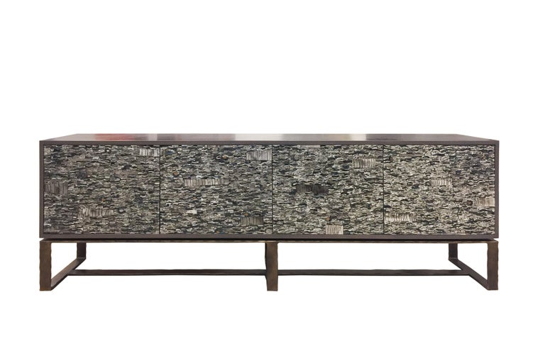 Customizable Gray Lacquered Ravenna Glass Mosaic Chest of Drawer by Ercole Home For Sale 1