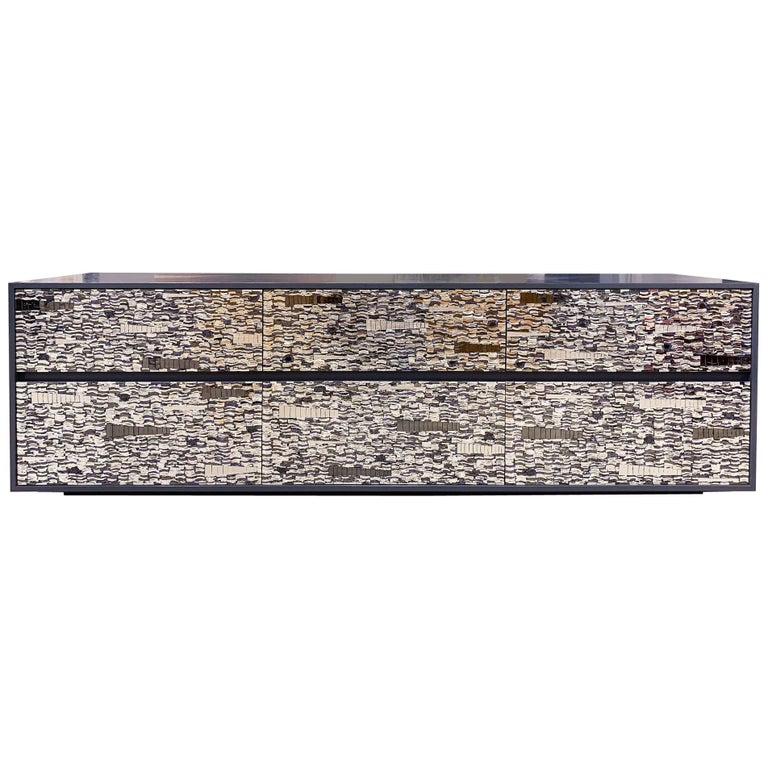 Customizable Gray Lacquered Ravenna Glass Mosaic Chest of Drawer by Ercole Home For Sale