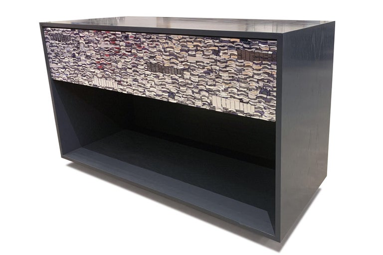 Modern Customizable Gray Lacquered Ravenna Glass One-Drawer Nightstand by Ercole Home For Sale