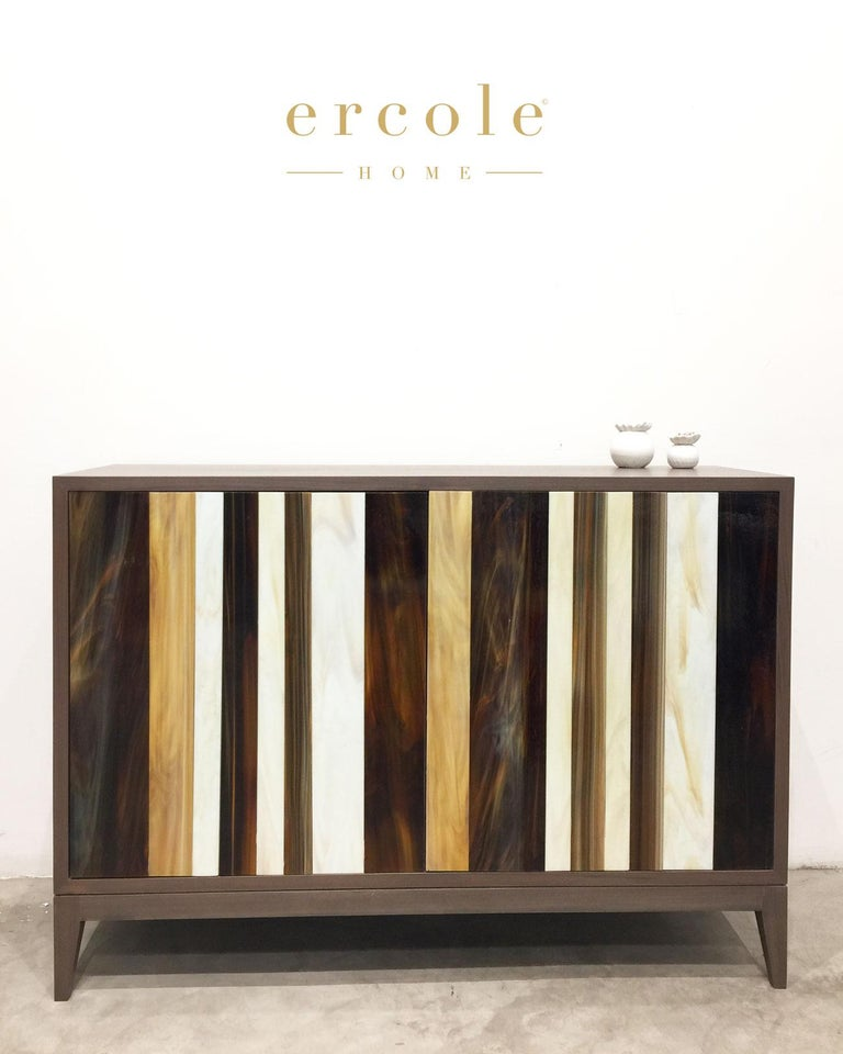 American Customizable Gray Walnut Milano Buffet in Brown/Ivory Glass Mosaic Ercole Home For Sale