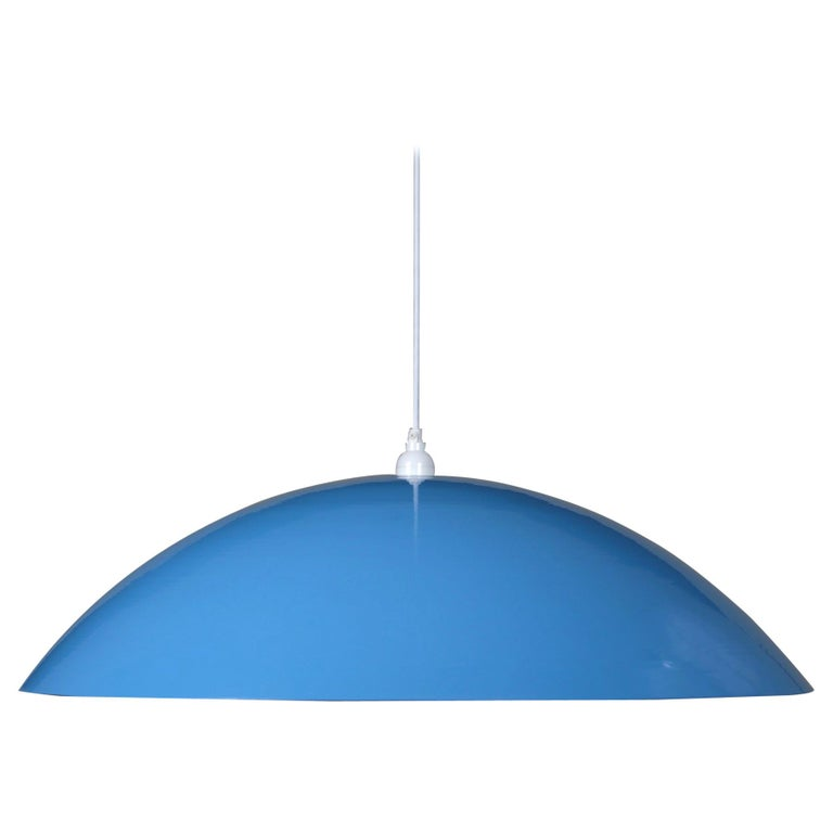Customizable Huge Industrial Dome Pendant Lamp, Light Blue, Floor Model For Sale