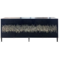 Customizable Industrial Buffet in Black/Silver Wave Glass Mosaic by Ercole Home