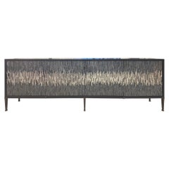 Customizable Industrial Buffet in Gray/Silver Wave Glass Mosaic by Ercole Home