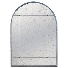 Customizable Industrial Style Silver Window Pane Distressed Iron Look Mirror