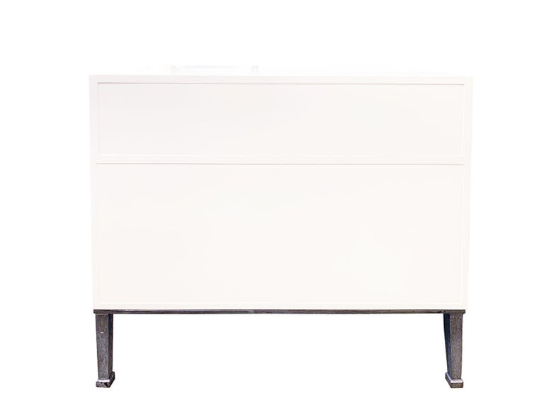 American Customizable Industrial White Lacquer Nightstand with Erglomise by Ercole Home For Sale