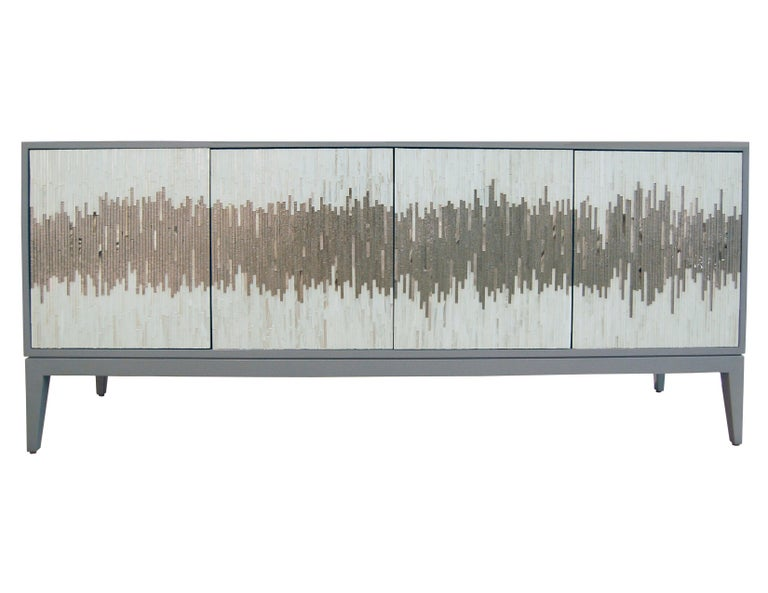 Customizable Ivory Buffet in White/Silver Wave Glass Mosaic by Ercole Home For Sale 4