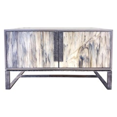 Customizable London Gray Glass Credenza with Hammered Metal Base by Ercole Home