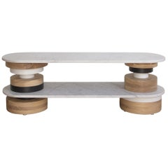 Customizable Low Sass Console Table from Souda, White Marble Top, Entryway Table