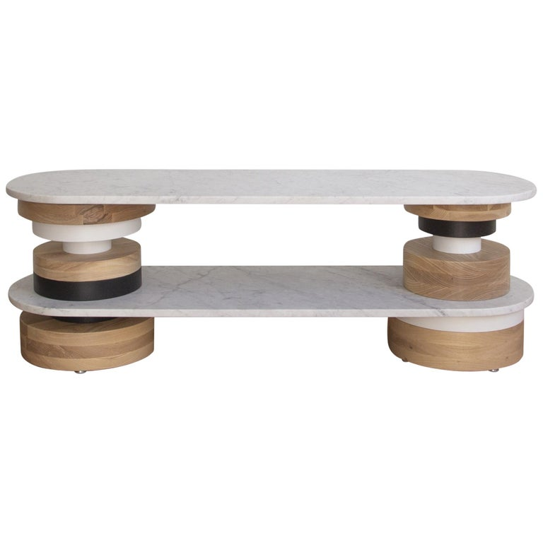 Customizable Low Sass Console Table from Souda, White Marble Top, Entryway Table For Sale