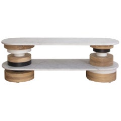 Customizable Low Sass Console Table from Souda, White Marble Top, Floor Model