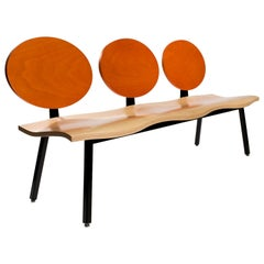 Customizable Maple Three-Seater Bench with Stained Orange Back by Peter Danko