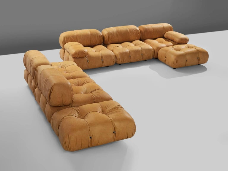 Mario Bellini, large modular 'Cameleonda' sofa, cognac leather upholstery, Italy, 1971, re-upholstered by our in-house upholstery atelier.   The sectional elements this sofa was made with, can be used freely and apart from one another. The backs and