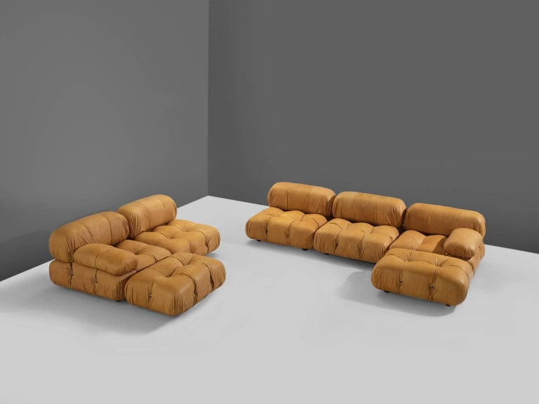 Mid-Century Modern Customizable Mario Bellini 'Camaleonda' Modular Sofa in Cognac Leather For Sale