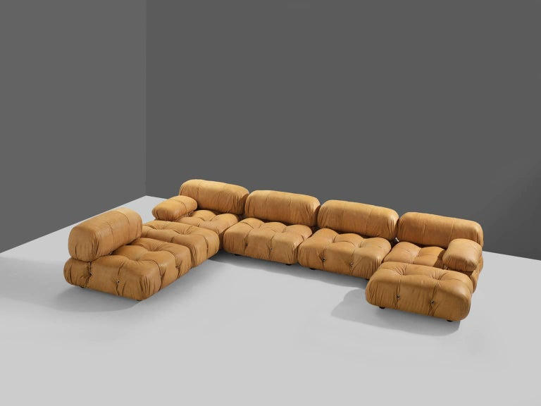 Italian Customizable Mario Bellini 'Camaleonda' Modular Sofa in Cognac Leather For Sale