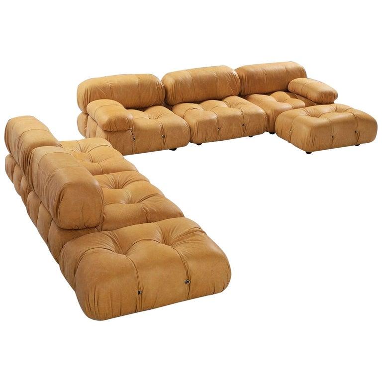 Customizable Mario Bellini 'Camaleonda' Modular Sofa in Cognac Leather For Sale