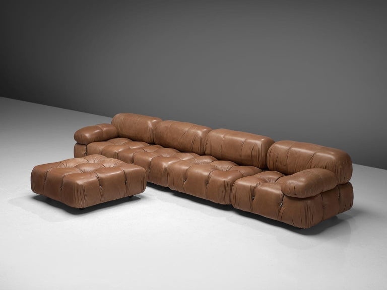 Mario Bellini, modular 'Cameleonda' sofa in original brown leather, Italy, 1972.