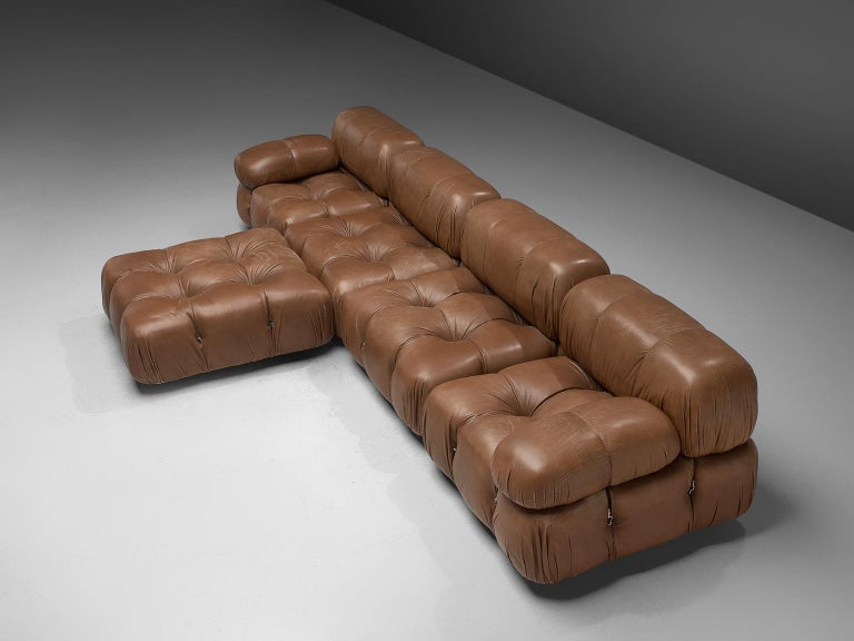 Mid-Century Modern Customizable Mario Bellini 'Camaleonda' Modular Sofa in Original Leather For Sale