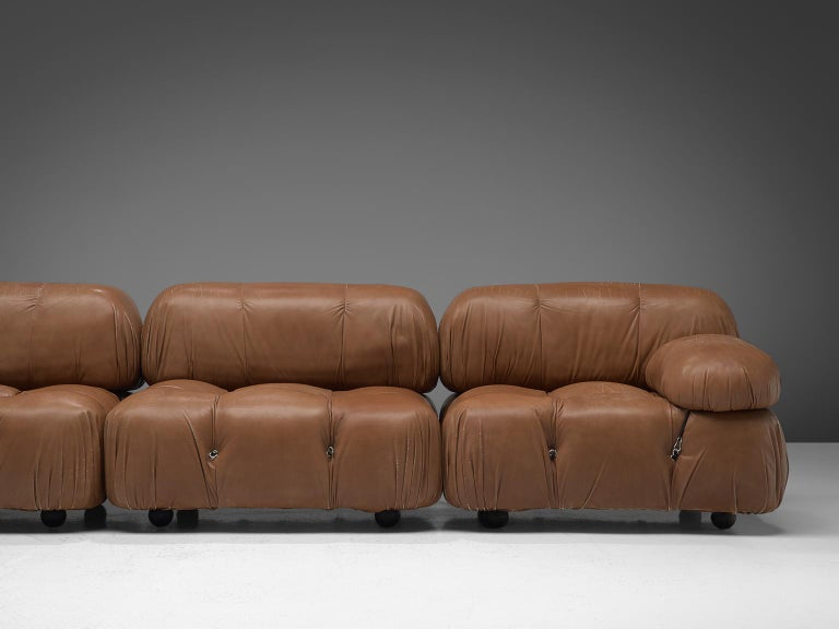 Italian Customizable Mario Bellini 'Camaleonda' Modular Sofa in Original Leather For Sale