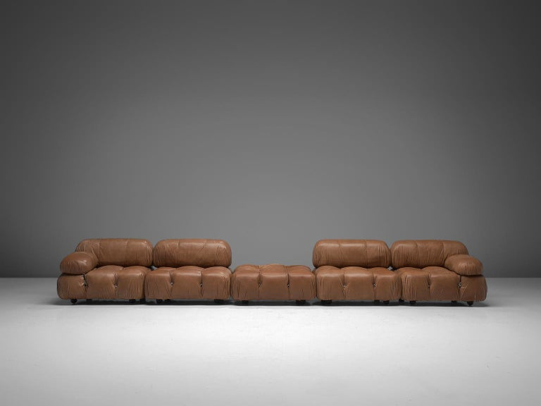 Customizable Mario Bellini 'Camaleonda' Modular Sofa in Original Leather In Good Condition For Sale In Waalwijk, NL