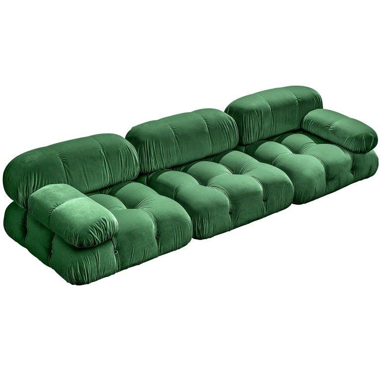 Mario Bellini Camaleonda sofa in emerald green velvet, 1970–79, offered by Morentz