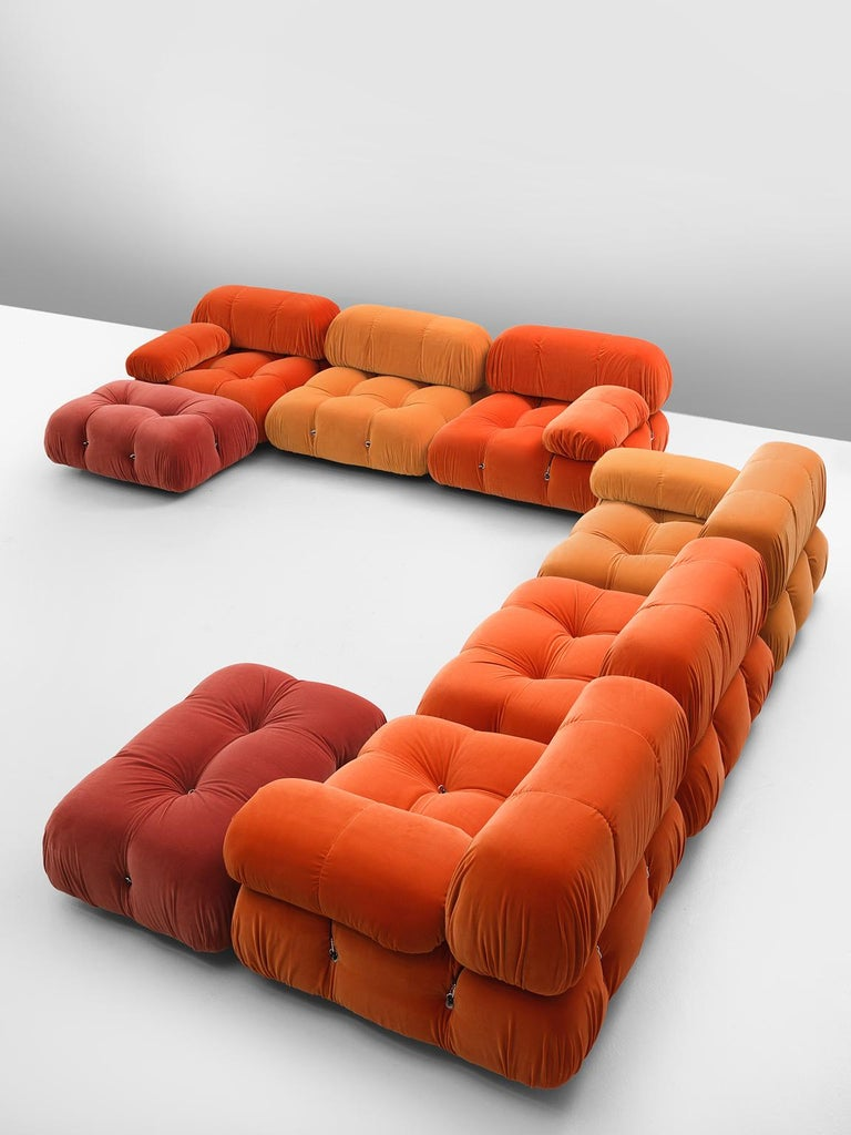 Mario Bellini, 'Camaleonda' sofa, in orange upholstery by Italy, 1972.