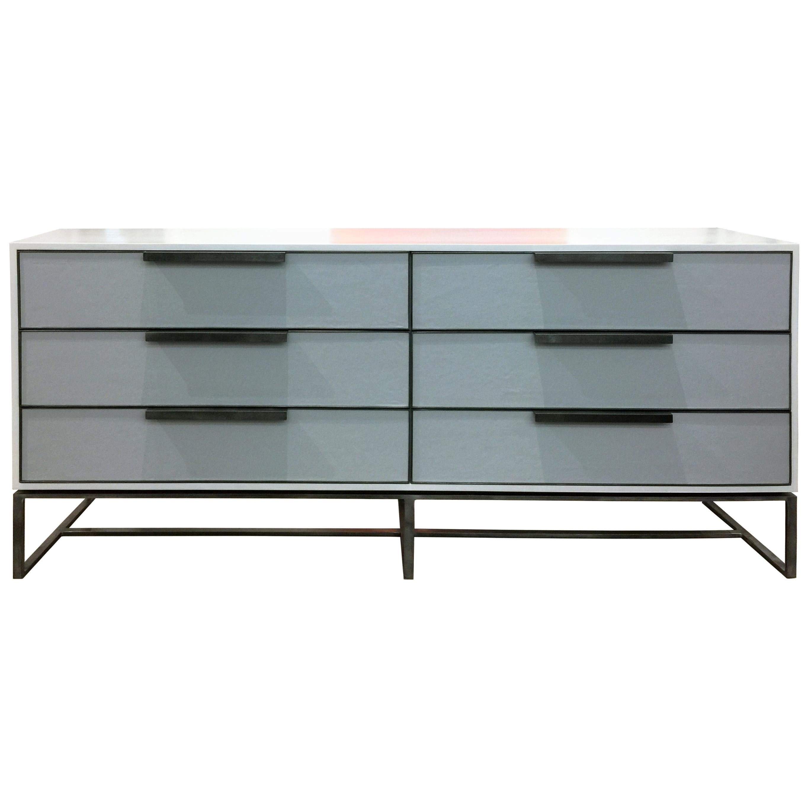 Customizable Midcentury Style Gray Leather Chest with Metal Base by Ercole Home