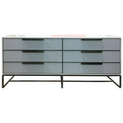 Customizable Midcentury Gray Leather Chest with Metal Base by Ercole Home