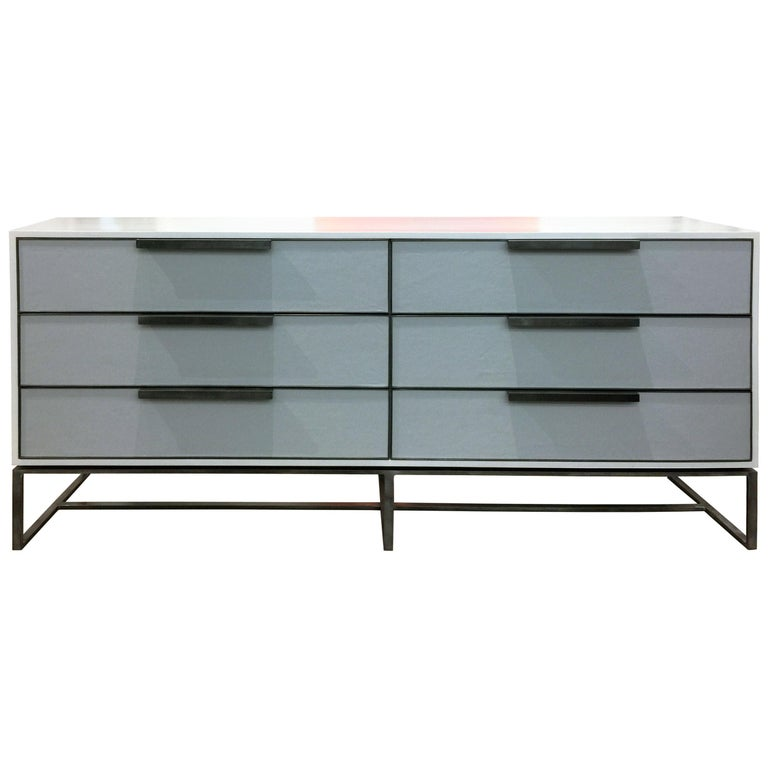Customizable Midcentury Style Gray Leather Chest with Metal Base by Ercole Home For Sale