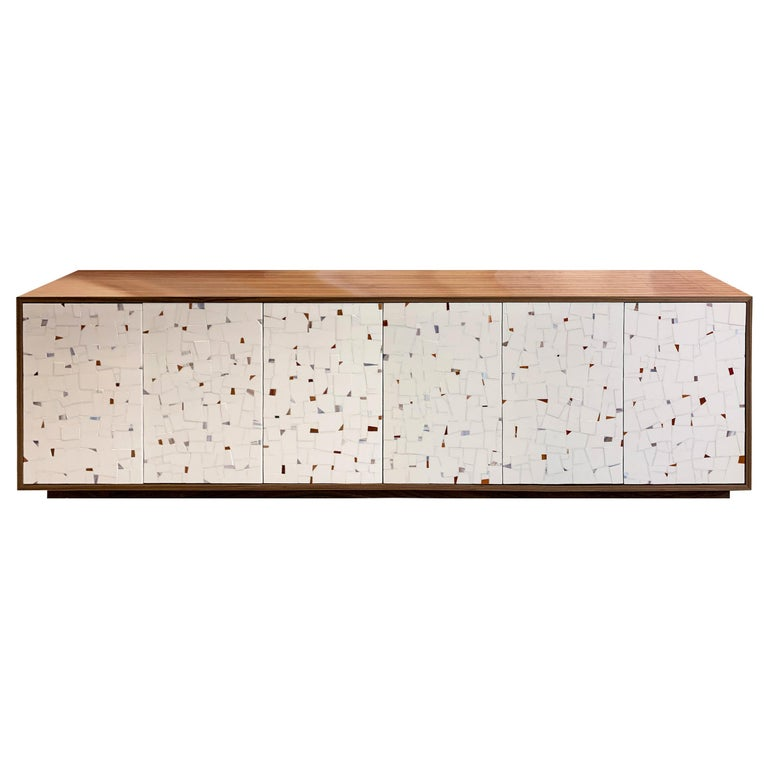Customizable Milano Brown Walnut Buffet in Terrazzo Glass Mosaic by Ercole Home For Sale