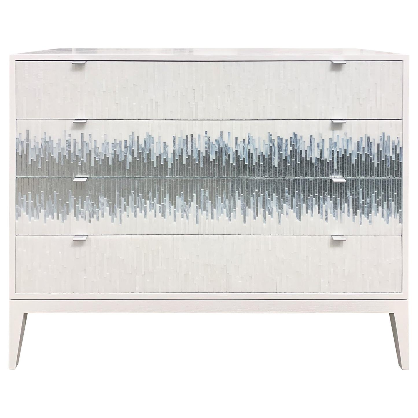 Customizable Milano Chest in White/Silver Wave Glass Mosaic by Ercole Home